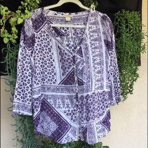 Lucky Brand Women's Purple and White Cotton Top